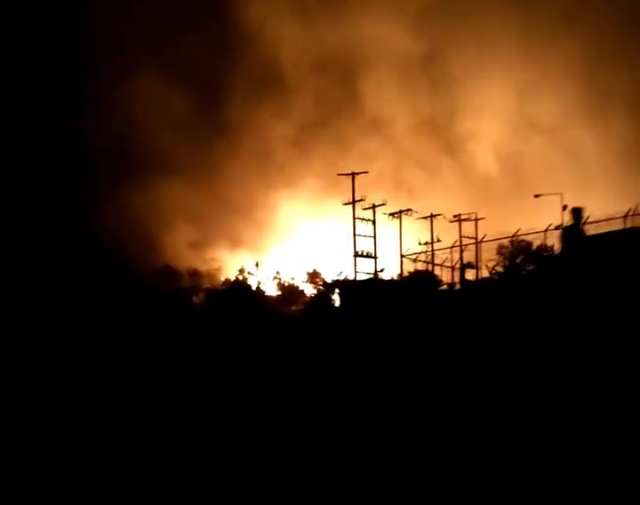 FIRE DESTROYS MUCH OF  MORIA CAMP, FOLLOWING FOUR YEARS' EUROPEAN TOLERANCE OF FATAL RISKS TO MIGRANTS
